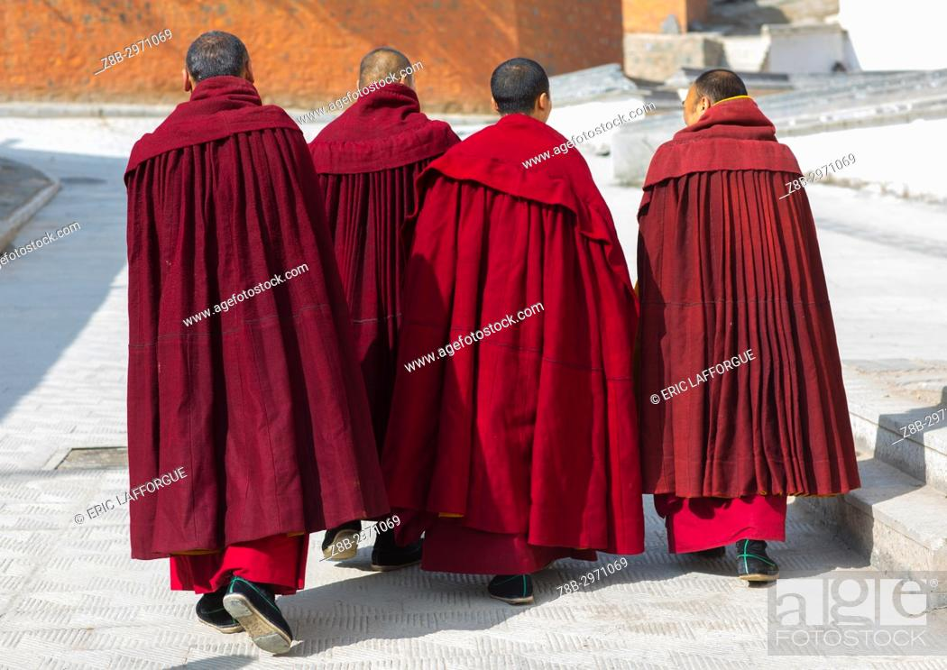 Stock Photo: Tibetan monks of the gelug order in Labrang monastery, Gansu province, Labrang, China.