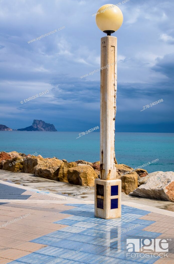 Stock Photo: View of a streetlamp in Altea beach, Alicante north, Spain.