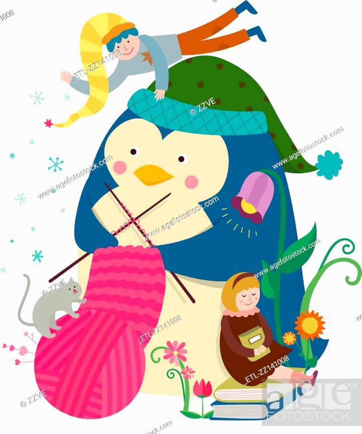 Stock Photo: Knitting Penguin.