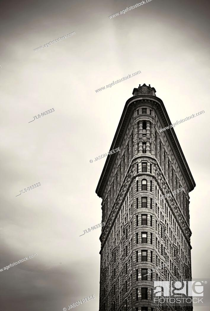 Stock Photo: The Flat Iron building facade in Manhattan, New York, New York, USA.