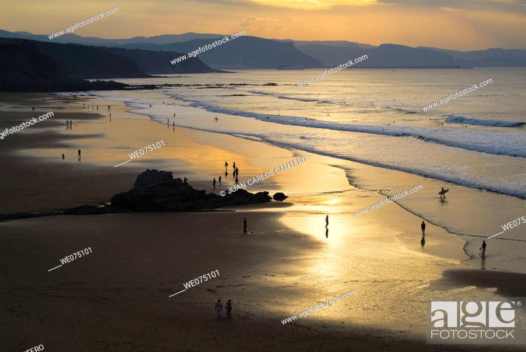 Stock Photo: Beach in Sopelana. Biscay. Euskadi. Spain.