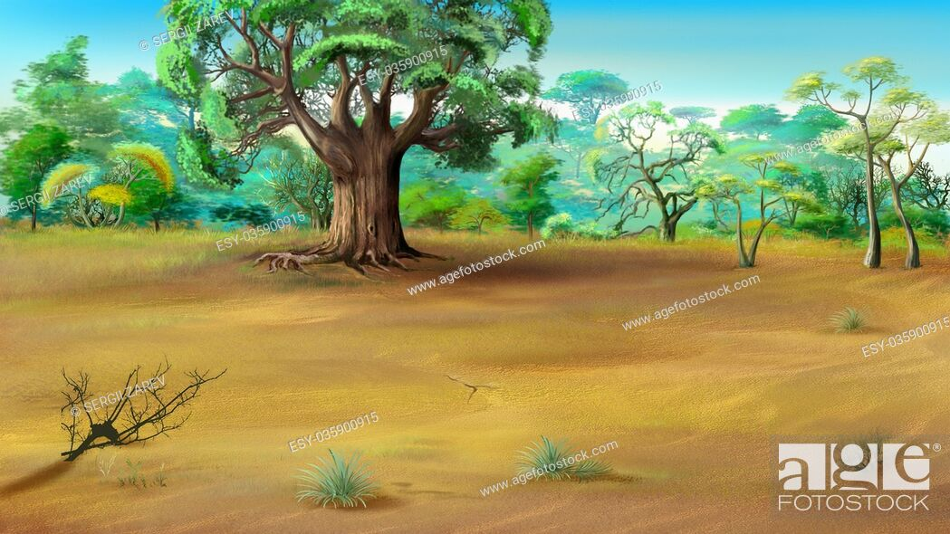 Stock Photo: Digital painting of the African Savannah in a summer day with big baobab on background.