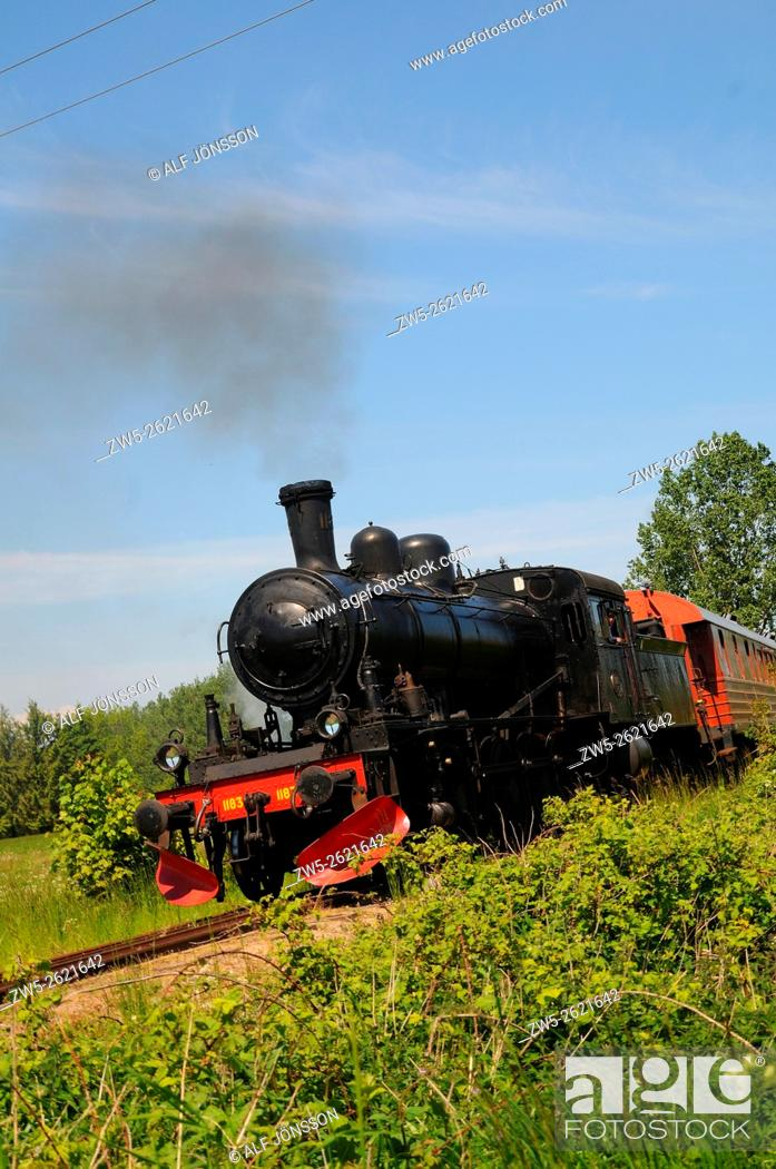 Stock Photo: Old steam train on the museum railway Brösarp - S:t Olof in Scania, Sweden. The locomotive is built 1914.