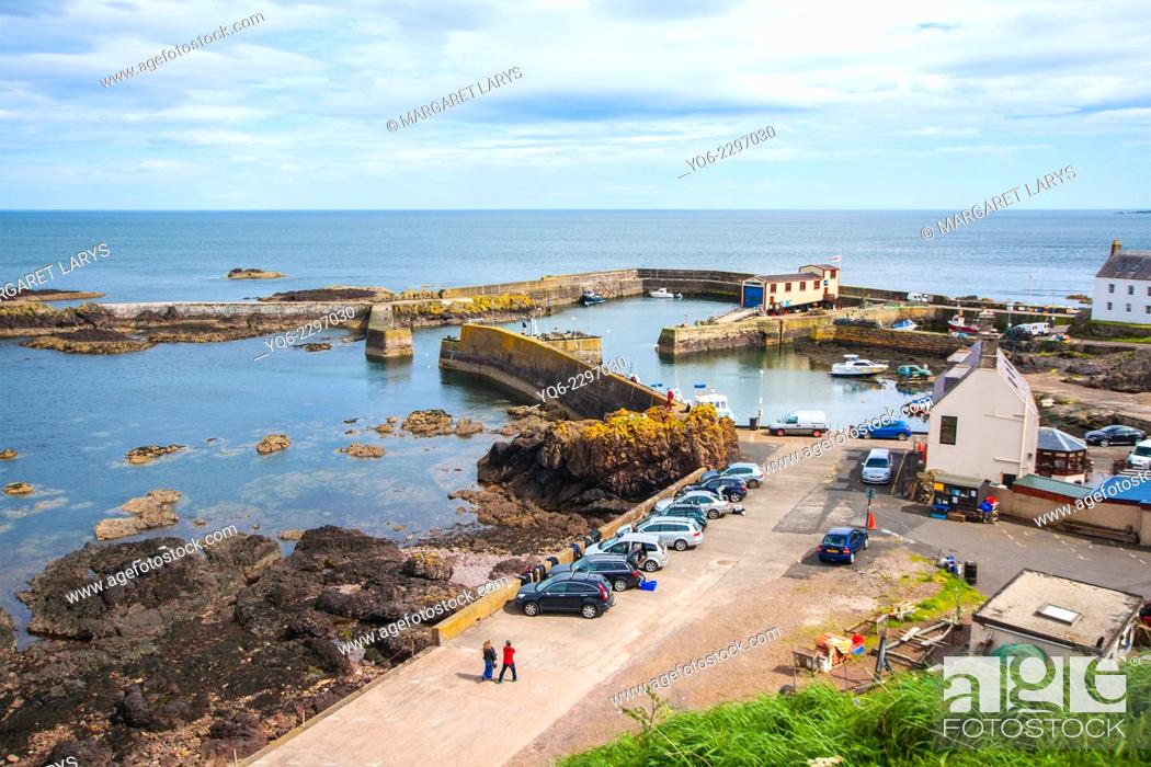 Stock Photo: St Abbs village and harbour, Scottish Borders.