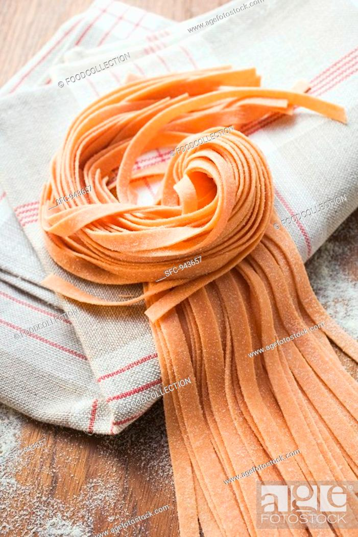 Stock Photo: Red ribbon pasta.