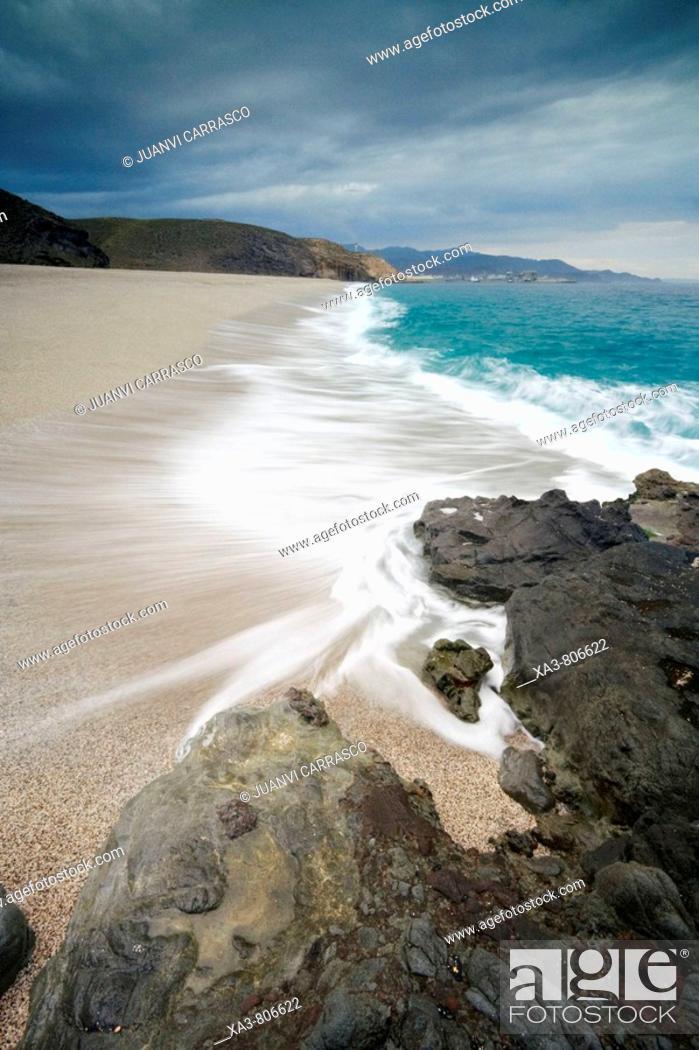 Stock Photo: Los Muertos beach. Cabo de Gata-Nijar Biosphere Reserve, Almeria province, Andalucia, Spain.