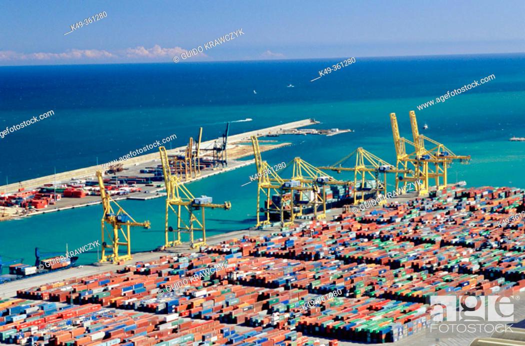 Stock Photo: Port of Barcelona as seen from Montjuic. Barcelona. Spain.