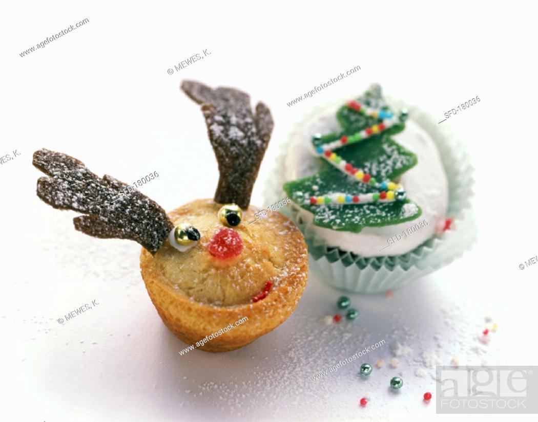 Almond Spekulatius Muffin And Amaretto And Marzipan Muffin Stock