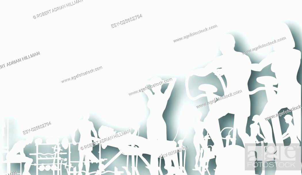 Stock Vector: Editable vector cutout of people exercising in a gym with background shadow made using a gradient mesh.