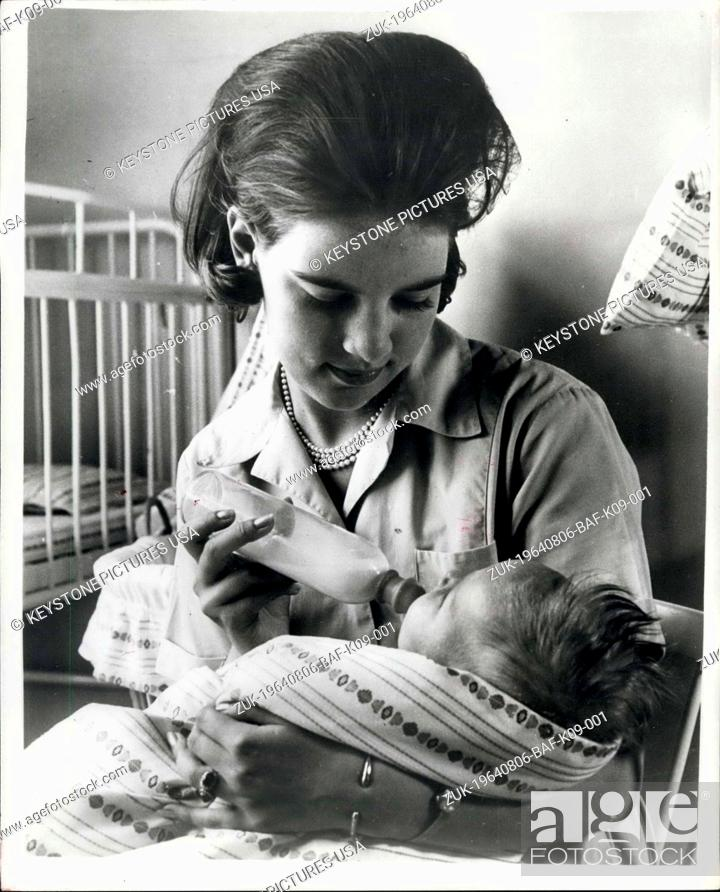 Stock Photo: Aug. 06, 1964 - Embargo Until June 12th: Greek Queen-to-be learns child nursery: Princess Anne-Marie, who is engaged to King Constantine of Greece has for some.