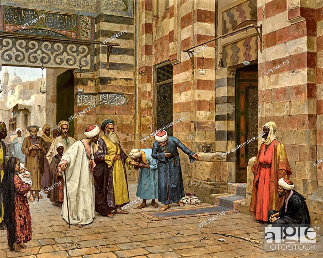 Imagen: Ferraris Arthur Von - Arriving at the Mosque - Hungarian School - 19th Century.
