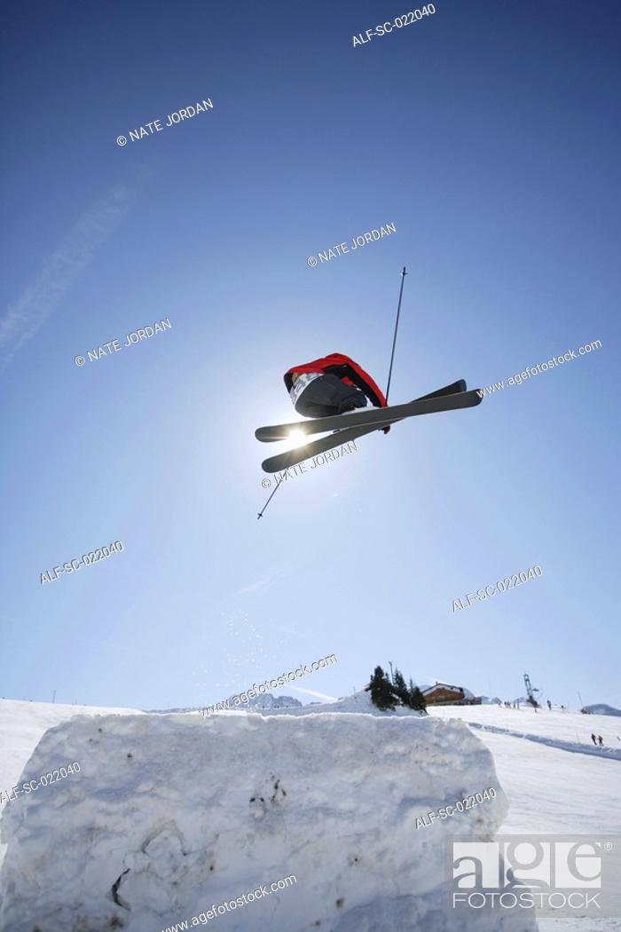 Stock Photo: Skier Flying Through the Air.