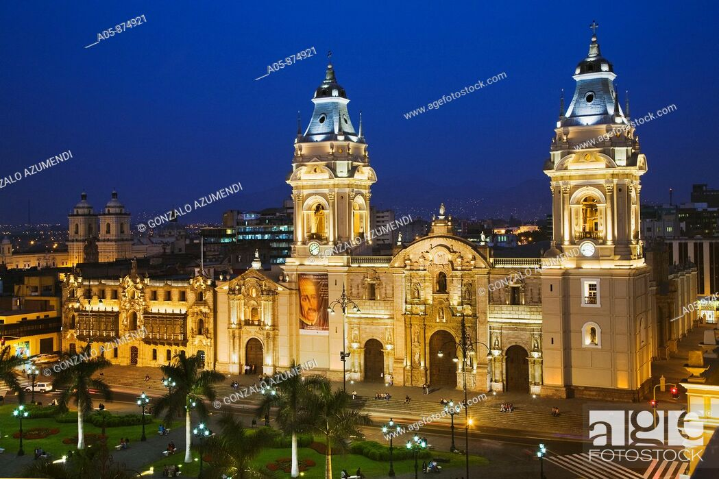 Stock Photo: Cathedral in Plaza de Armas, Lima, Peru.