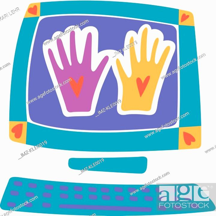 Stock Photo: Two different colored hands on a computer screen.