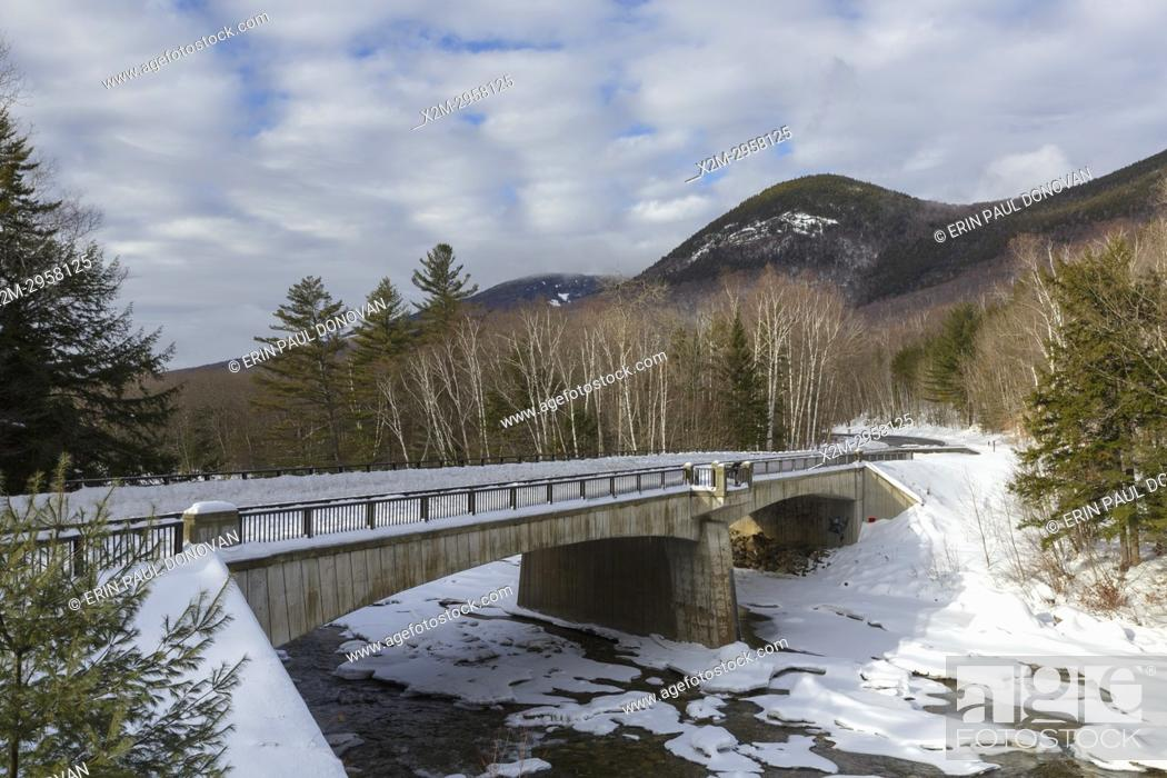 Stock Photo: Bridge along the Kancamagus Scenic Byway (Route 112) in Lincoln, New Hampshire during the winter months. This bridge crosses the East Branch of the Pemigewasset.