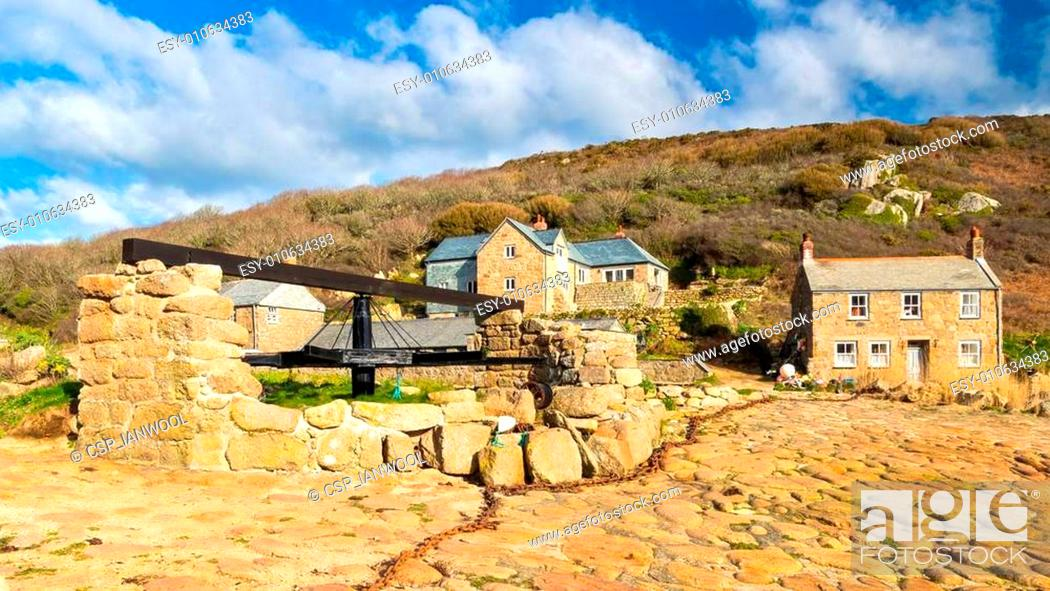 Stock Photo: Penberth Cove Cornwall England.