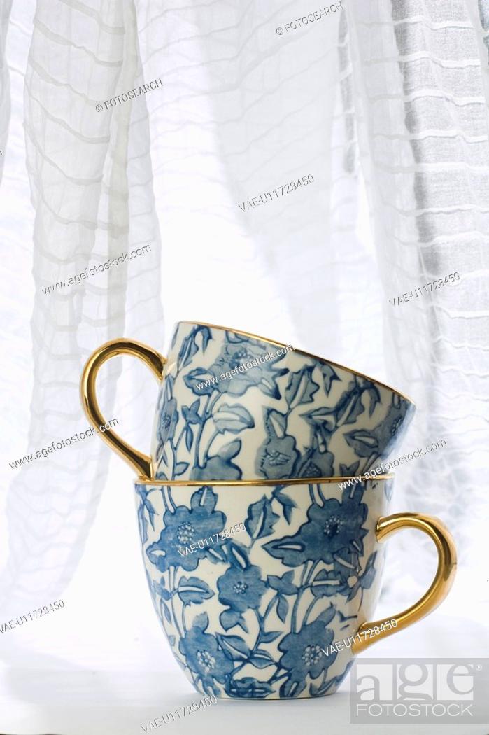 Stock Photo: Blue, Ceramics, Close-Up, Cup, Curtain.