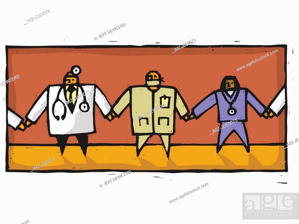 Stock Photo: doctors holding hands.