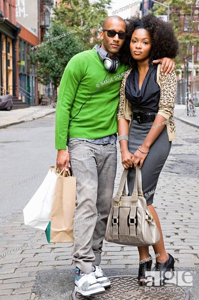 Stock Photo: Couple in city.