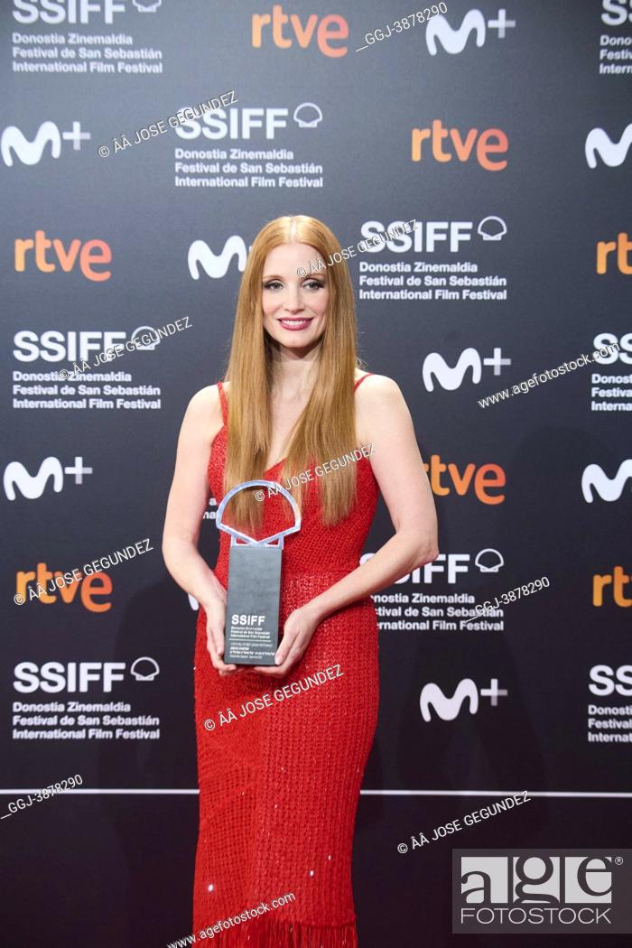 Stock Photo: Jessica Chastain poses for photographers after receives the Silver Shell as best actress Closure Ceremony Gala of 69th San Sebastian International Film Festival.