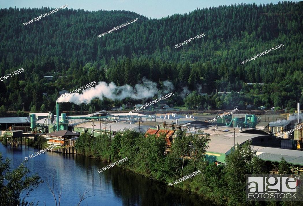 Stock Photo: Aerial of large sawmill, Idaho.