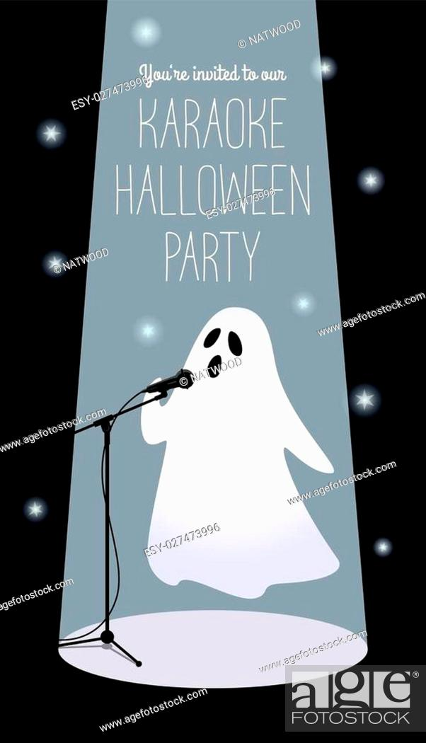 Vector: Invitation to karaoke Halloween party. Vector illustration of a cartoon ghost in a spotlight singing into a microphone. Long vertical format, black background.