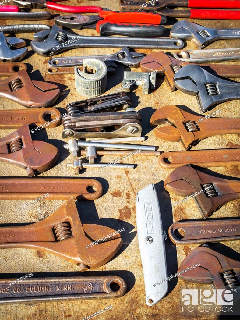 old tools on sale at a flea market. cape town, south africa, stock ...