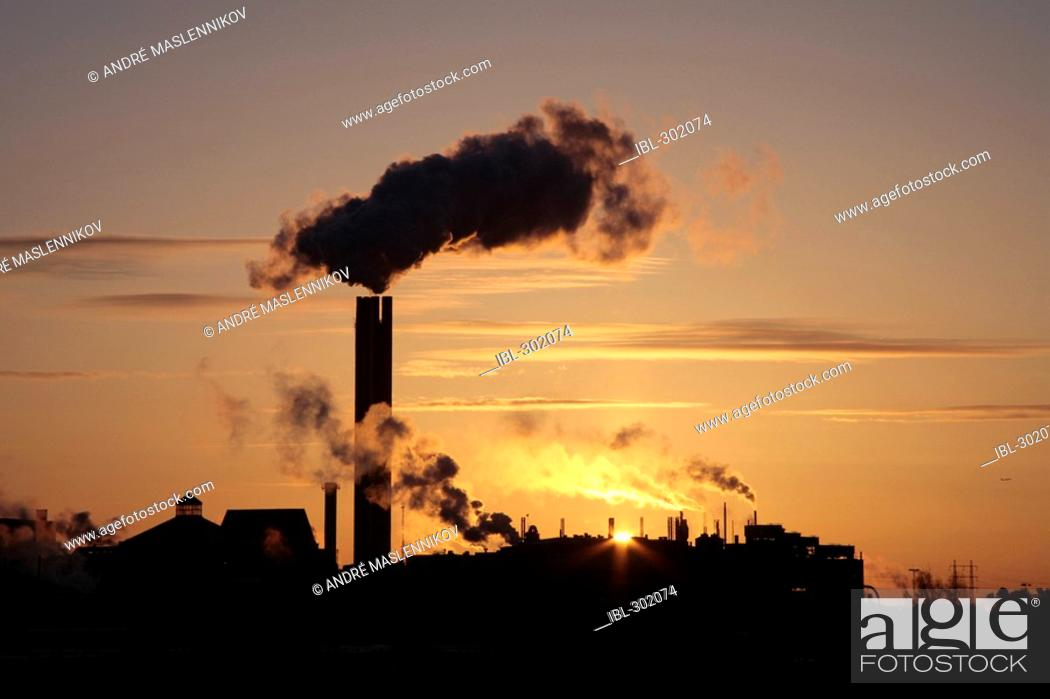 Stock Photo: Chimney on powerplant.