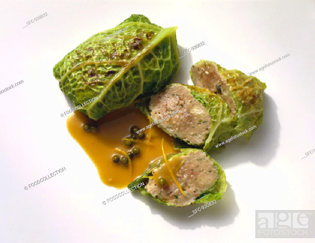 Stock Photo: Savoy Cabbage Roulades with Ground Meat Filling.