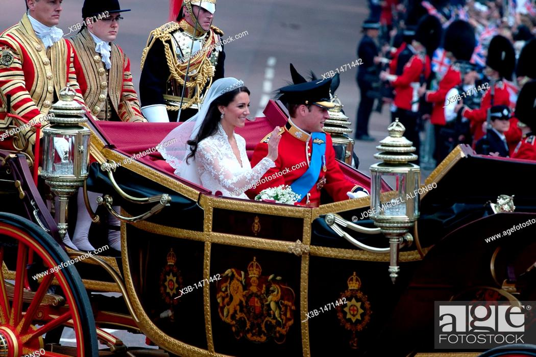 Stock Photo: London royal wedding between Prince William and Kate Middleton  29/04/2011, London  England.