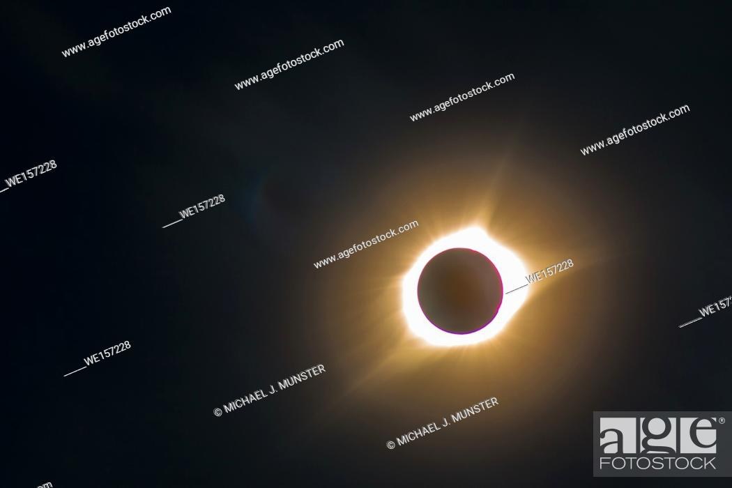 Stock Photo: Solar eclipse that took place on August 21, 2017.