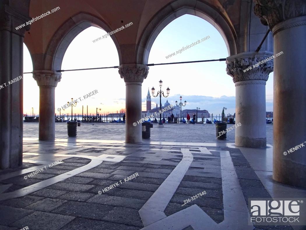 Stock Photo: St Marks Square and church San Giorgio Maggiore before sunrise, Venice, Italy.
