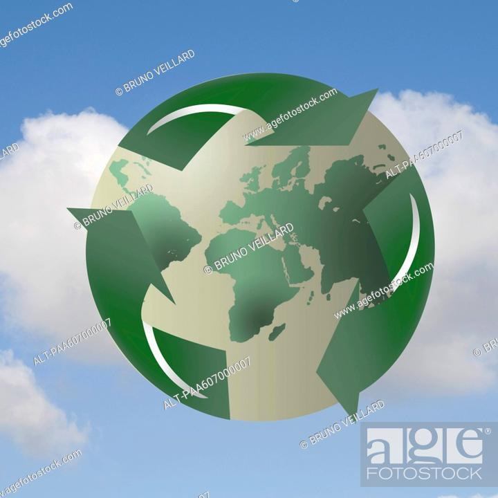 Stock Photo: Recycling symbol enveloping planet earth.
