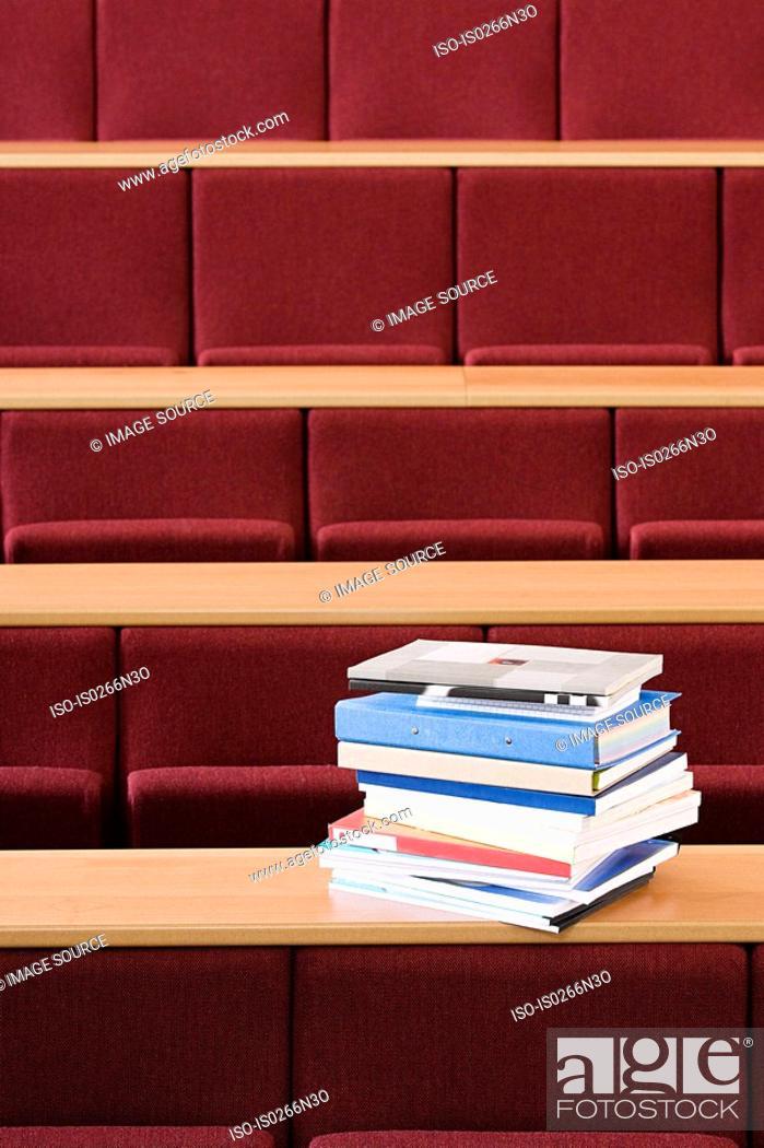 Stock Photo: Books in lecture theatre.