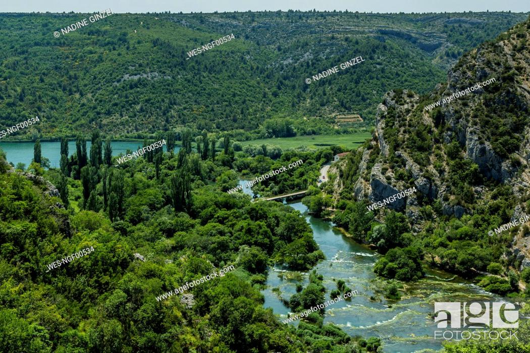 Stock Photo: Croatia, Green scenic landscape of Roski Slap National Park in summer.