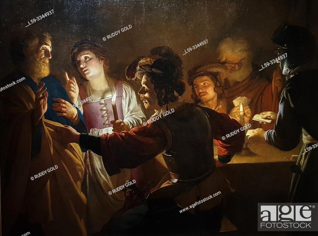 Stock Photo: 'The Denial of Saint Peter', 1616/17, Gerard van Honthorst (1592-1656).