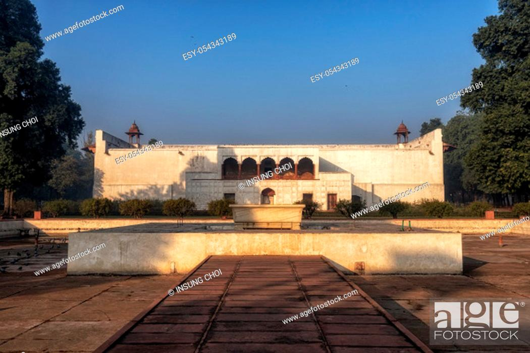 Stock Photo: diwan i am in red fort viewed from behind near rang mahal. Red Fort, New Delhi, India.