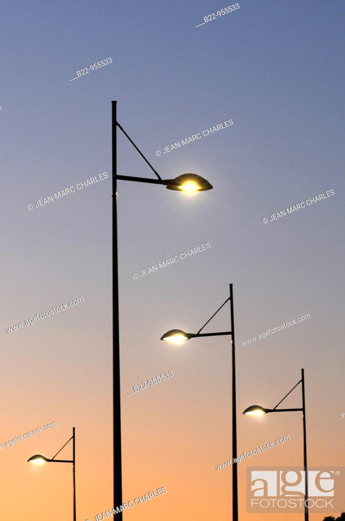 Stock Photo: Public lighting, Creteil, Val-de-Marne, Île-de-France, France.