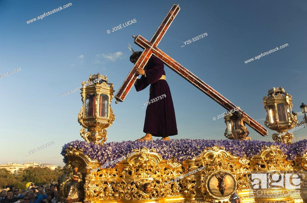 Stock Photo: Holy Week. Brotherhood of La O (Jesus Nazareno carrying the cross). Seville. Region of Andalusia. Spain. Europe.