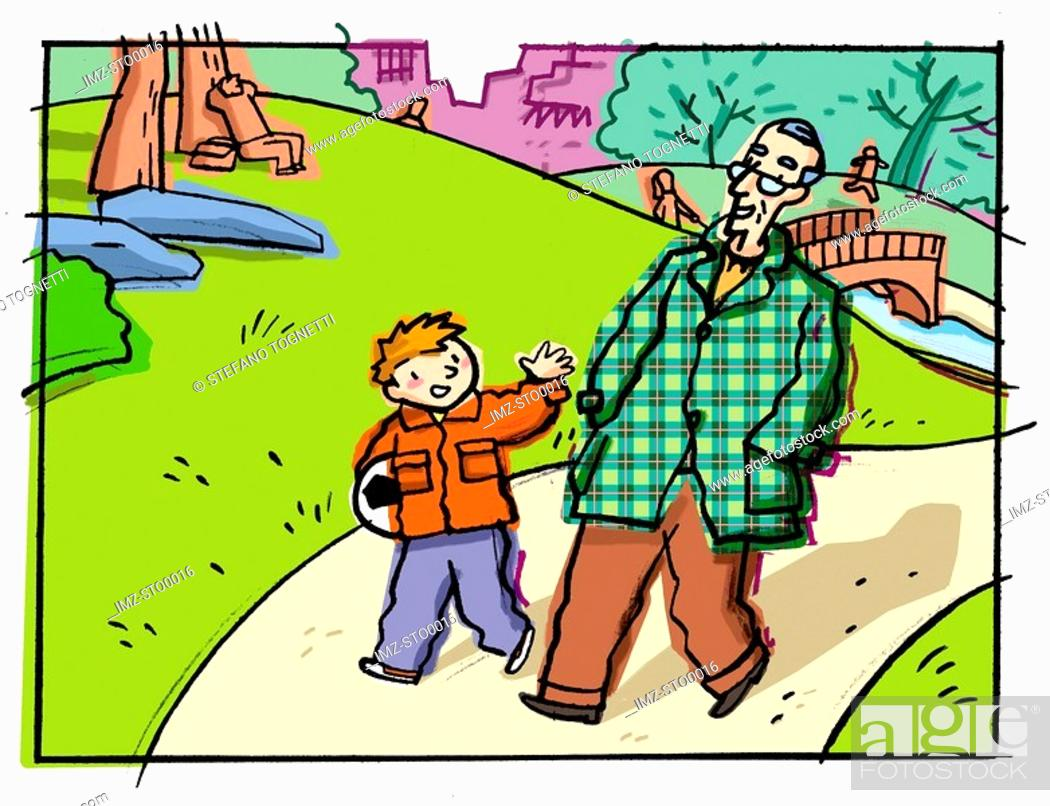 Stock Photo: A young boy walking in the park with an elderly gentleman.
