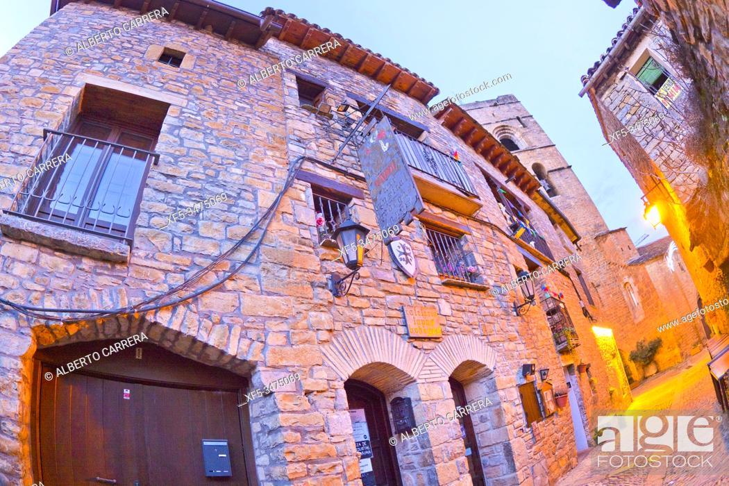 Stock Photo: Street Scene, Typical Architecture, Medieval Village of Aínsa, Villa de Aínsa, Sobrarbe, Huesca, Aragón, Spain, Europe.