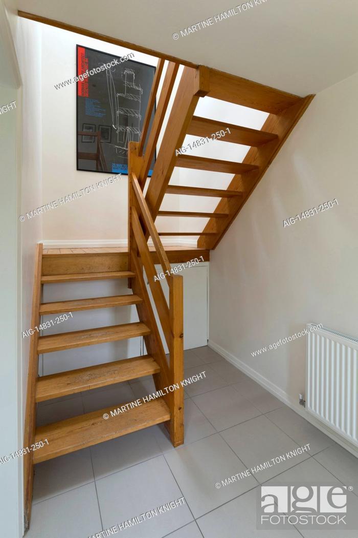 1960s Open Tread Timber Staircase Nottingham England Uk Stock