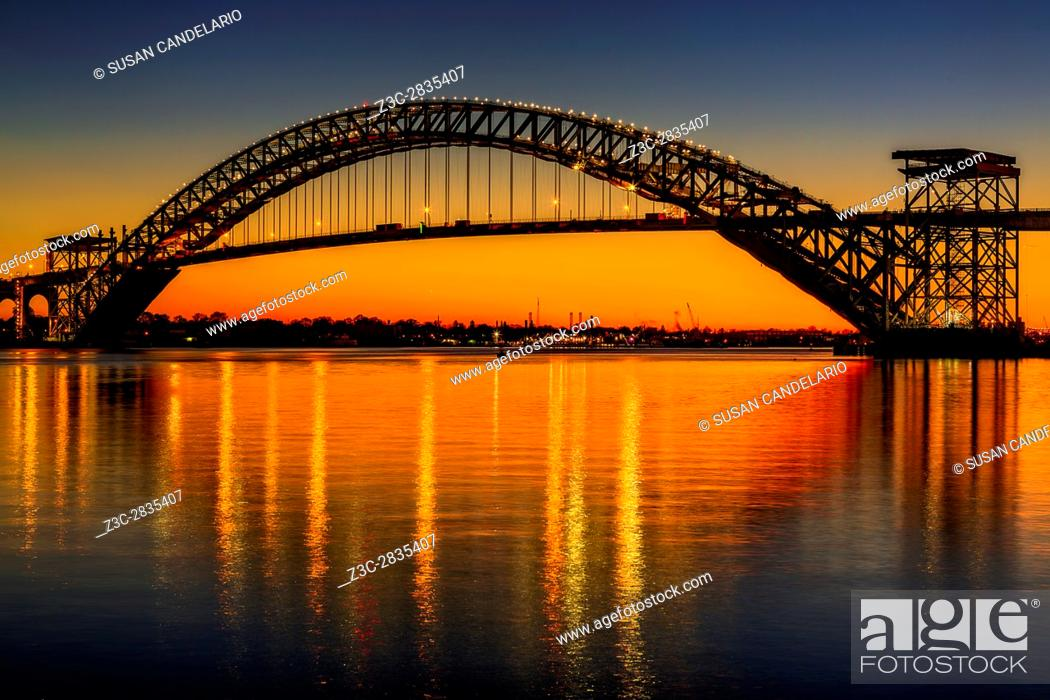 Stock Photo: Bayonne Bridge Sunset - The Bayonne Bridge is the fifth-longest steel arch bridge in the world, and was the longest in the world at the time of its completion.