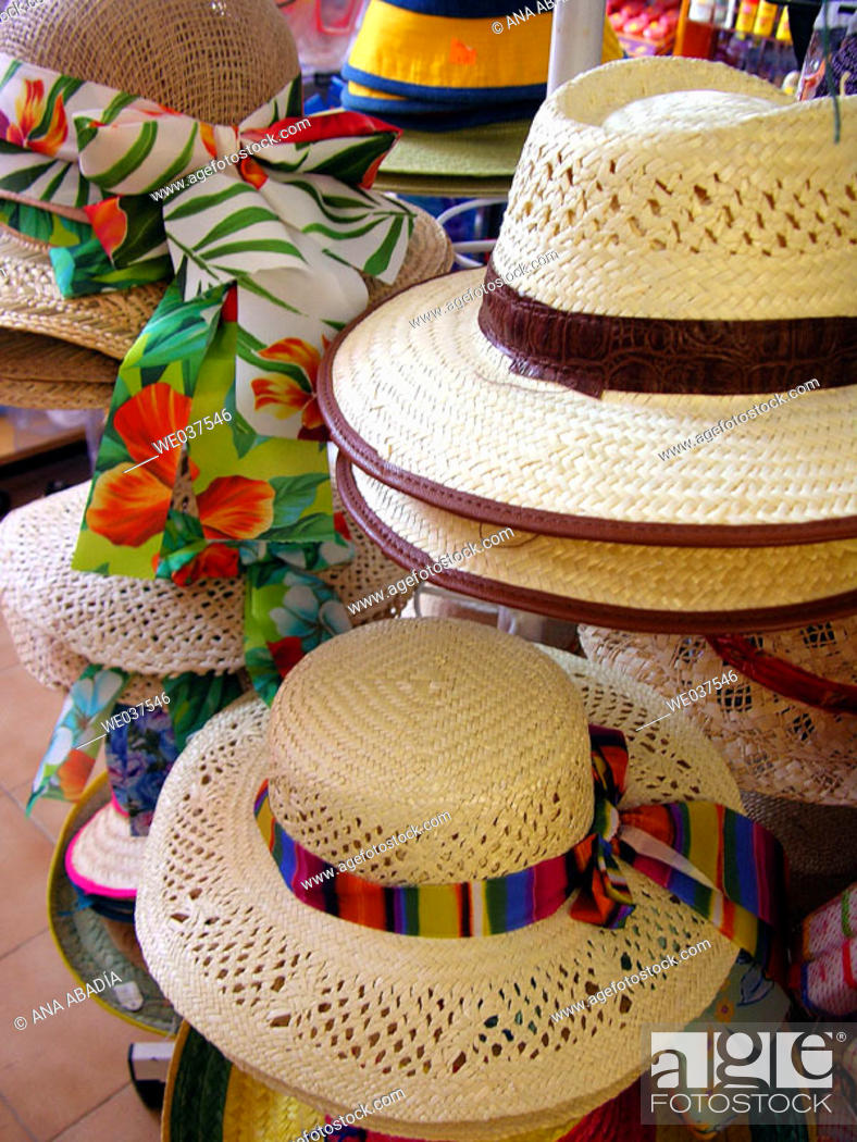 Stock Photo: Straw hats for sale. Majorca, Balearic Islands, Spain.