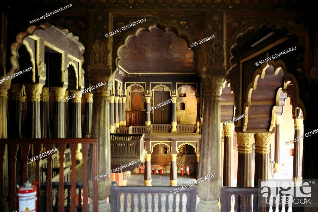 Stock Photo: Bangalore, India - October 23, 2016: An interior view of Tippu Sultan's Summer Palace in Bangalore (front view), a beautiful landmark in Indo-Islamic.