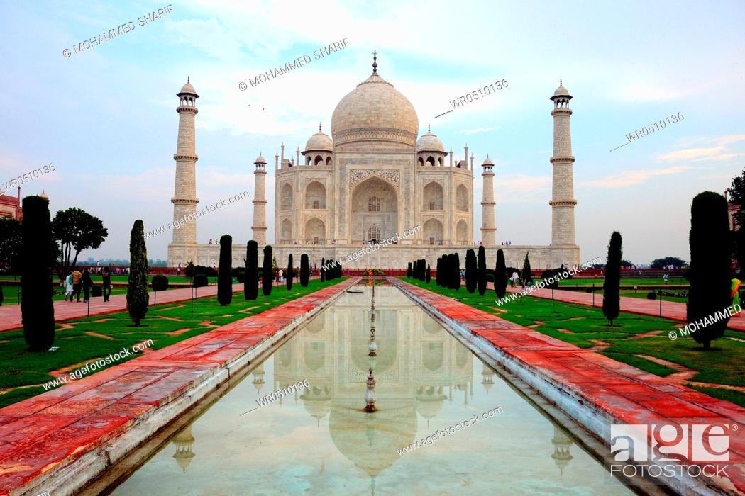 Stock Photo: Taj Mahal reflection in pond , Agra , Uttar Pradesh , India.