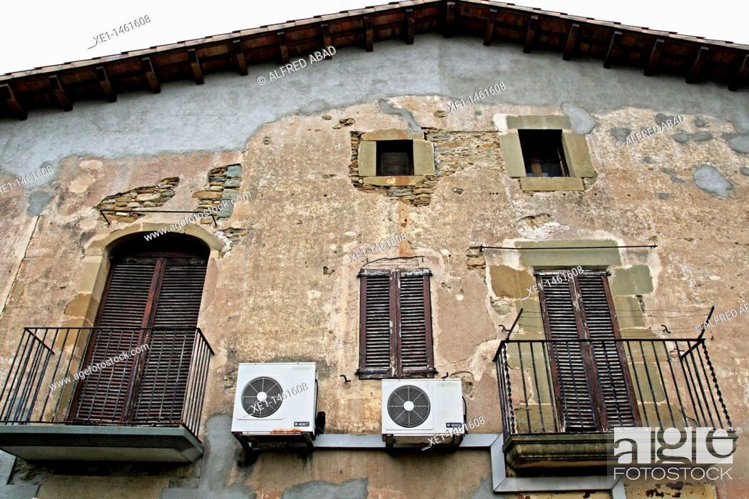 Stock Photo: country house, air conditioning, Folgueroles, Osona, Catalonia, Spain.