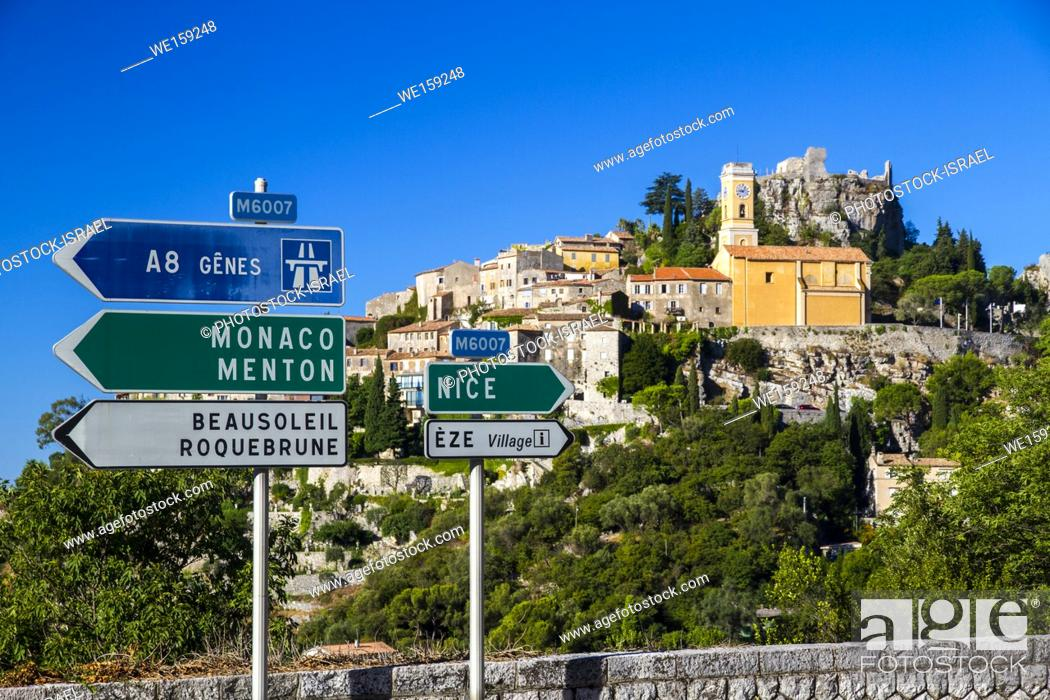 Stock Photo: ROad signs in southern France.