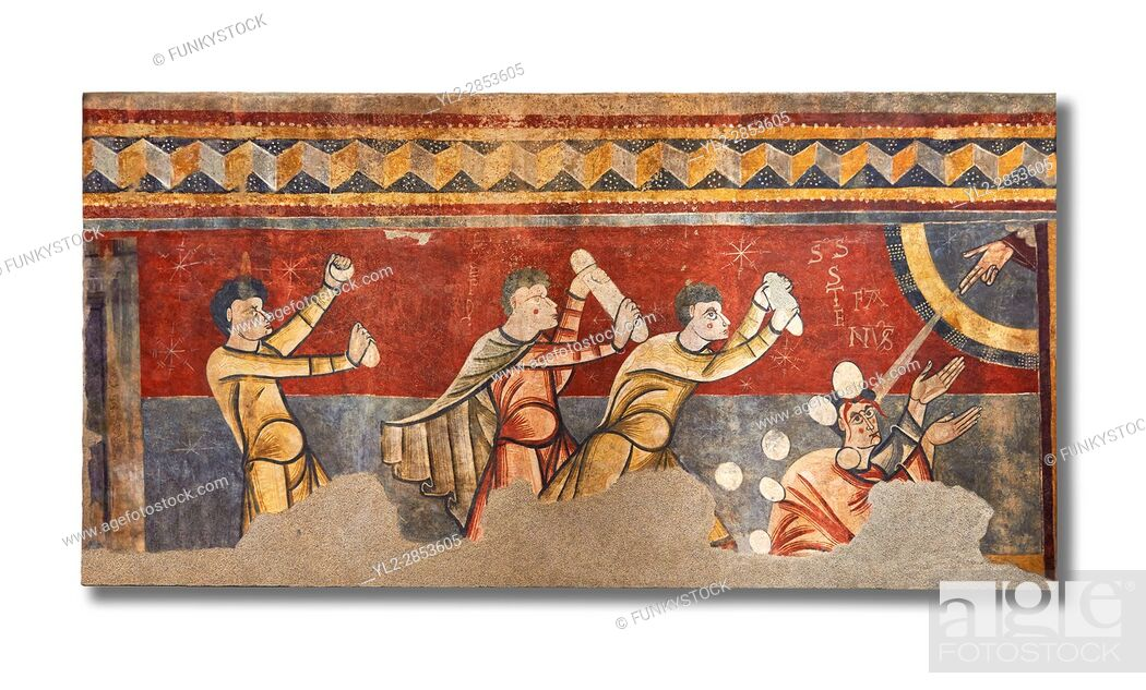 Stock Photo: The Stoning of St. Stephen. . Circa 1100s. . Fresco Transfer to canvas. . From the Church of Saint Joan Boi, Val de Boi, High Ribagorca, Pyranese, Spain.