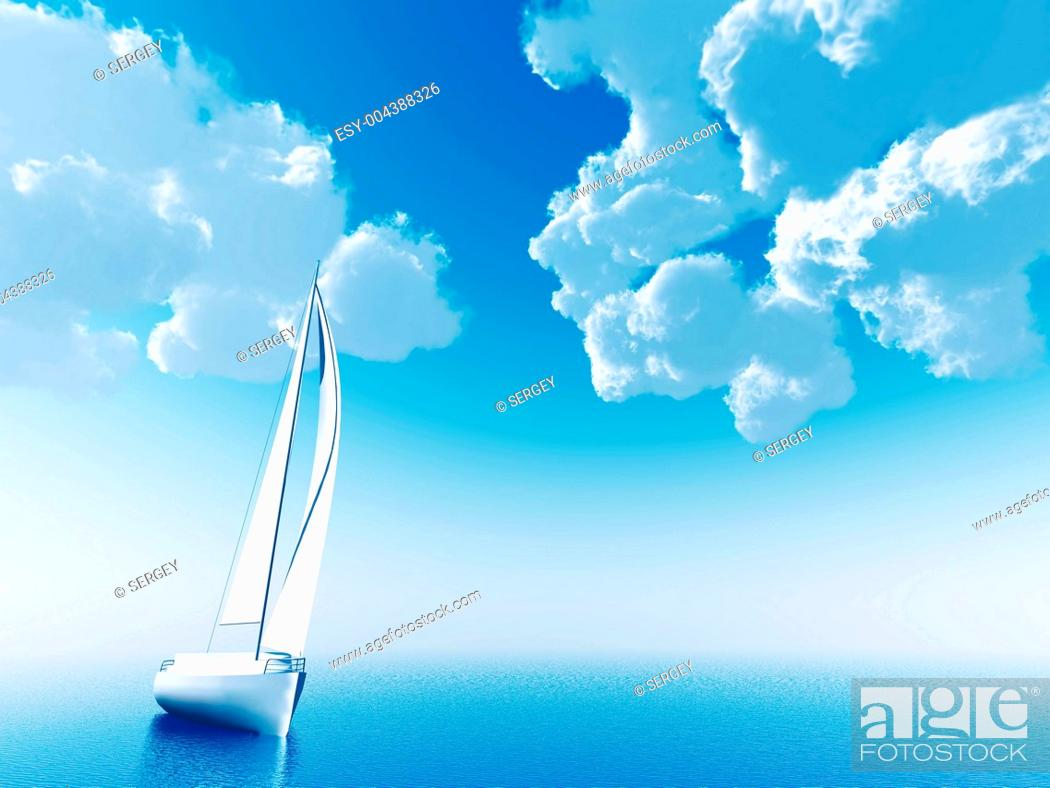 Stock Photo: sailing vessel travelling on ocean on a background of the cloudy blue sky.